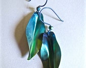 Anodized Niobium Leaf Shaped Earrings in Teal  (Custom Color/Size Made-to-Order)