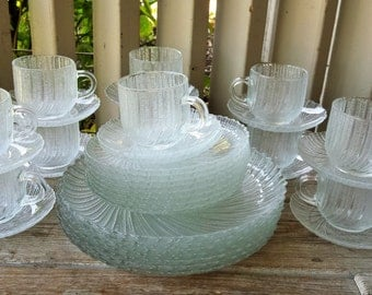 Arcoroc France Clear Sea Breeze 38 Piece Set of Plates, Cups and Saucers