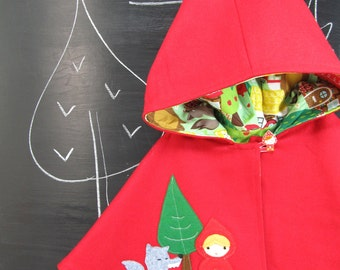 Red Riding Hood Capelet. Children Cape, Poncho, Costume, Halloween, Handmade, Wool, Girls,  Made to Order