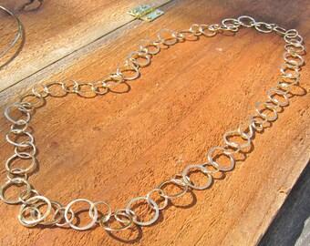 14K GF Handmade Forged Chain, Thirty-two Inch 14K GF, Small Handforged Chain,