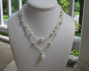 Backdrop Necklace, Lariat Back Drop Necklace, Back Necklace, Bridal Jewelry, Bridal Back Necklace, Pearl Back Necklace, Cheyenne