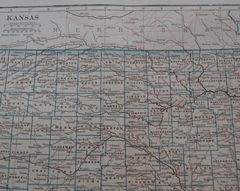 1909 State Map Kansas - Vintage Antique Map Great for Framing 100 Years Old