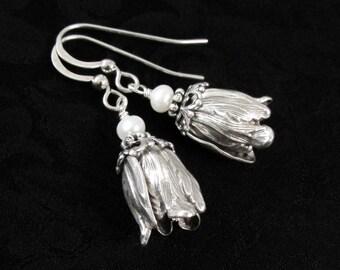 Wedding Bells - Silver Flower Earrings, Tulip Earrings, Lightweight Earrings, Gifts For Gardeners Boho Chic Bohemian Jewelry Bridal Jewelry
