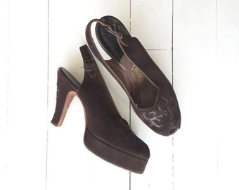 Cangemi platform shoes | brown 1940s shoes • vintage 40s platform heels 6.5