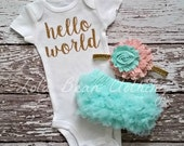 Baby Girl Take Home Outfit Newborn Baby Girl Hello World Bodysuit Mint Bloomers Peach & Mint Headband Set