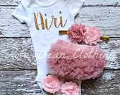 Baby Girl Take Home Outfit Newborn Baby Girl Custom Bodysuit Bloomers Headband Sandals Set Dusty Rose Baby Pink