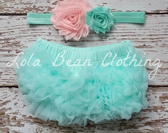 Mint Baby Bloomers Pink Headband Set Take Home Outfit Newborn Photography Prop Cake Smash