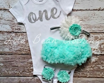Baby Girl Baby Girl 1st Birthday Outfit Cake Smash Photography Props Silver One Bodysuit Mint Bloomers Barefoot Sandals Silver White