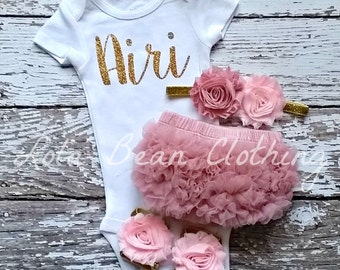Baby Girl Take Home Outfit Newborn Custom Bodysuit Bloomers Headband Sandals Set Dusty Rose Pink