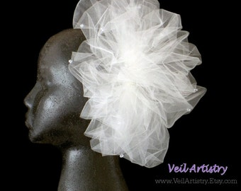 Bridal Veil, Pouf Veil, Sparkle Ivory Veil, Crystal Veil, Tiny Veil, Veil with Crystals, Sparkly Veil, Ready-to-Go Veil