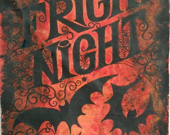 Ready to SHIP-FRIGHT NIGHT Halloween Decor  Painted Banner Vintage Style
