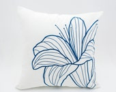 Blue Flower Decorative pillow, White Linen Pillow Blue Floral Embroidery, Floral Bedding, Flower Cushion, Embroidered Linen