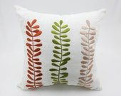 Leaves Throw Pillow Cover, White Linen Orange Green Beige Leaves, Embroidered Pillow Case, Floral Cushion Cover, Botanical Pillow