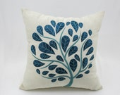 Peacock Pillow Cover, Beige Linen Teal Tree Embroidery, Floral Toss Pillow, Botanical Decor, Modern Home decor, Couch Pillow