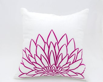 Pink Flower Decorative Pillow Cover, White Linen Pink Sunflower Embroidery, Floral Throw Pillow Cover, Modern Couch Pillow
