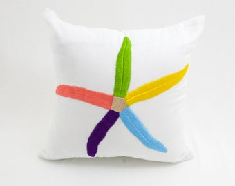 Starfish Decorative Pillow, Throw Pillow, White Linen, Multicolor Starfish, Embroidered, Toss Pillow, Cottage Pillow, Couch P
