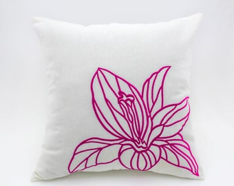 Fuchsia Flower Pillow Cover, White linen Pink Fuchsia Floral Embroidery, Floral Couch Pillow, Home decoration, Cushion Cover