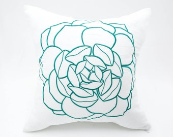 Rose Pillow Cover, White Linen Turquoise Flower Embroidery, Decorative Throw Pillow Cover, Accent Pillow, Pillow Sham, Floral Couch Pillow