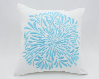 Floral Throw Pillow Cover, White Linen Blue Flower Embroidery, Cushion Cover, Flower Couch Pillow, Modern Pillow, Home Decor, Floral Bedding
