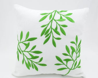 Pillow Cover, Decorative Pillow, Throw Pillow, White Linen Pillow, Green Leaves, Embroidered, Couch Pillow, Cushion Cover, Accent Pillow