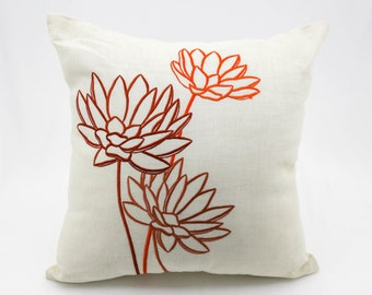 Lotus Pillow Case, Floral Throw Pillow, Beige Linen Orange Flower, Embroidered, Home Decor, Modern Floral Pillow, Pillow Shams