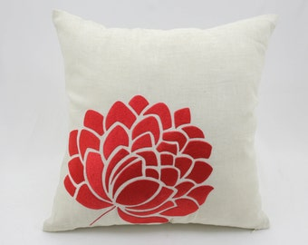 Orange Flower Pillow Cover, Floral Cushion Cover, Beige linen flower embroidery, Modern home decor, Floral Bedding, Accent Pillow