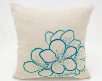 Teal Flower Pillow Cover, Beige Linen Teal Flower Embroidery, Floral Throw Pillow, Home Decor, Modern Pillow Shams, Cushion