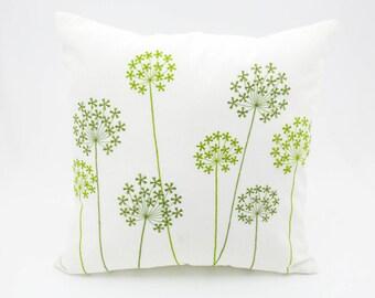 Queen Ann Throw Pillow Cover, Cream Pillow Cover, Fresh Green Queen Ann Embroidery, Cream Linen, Cushion Cover, Home Decor, Pillow Case