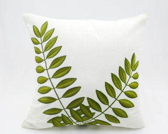 Green Leaf Pillow Cover, Leaves Embroidery on Cream linen pillow, Floral Pillow case, Leaf Throw Pillow, Home Decor, Decorative pillow