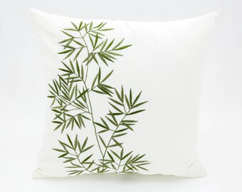 Bamboo Throw Pillow Cover, Cream Linen Green Bamboo Embroidery, Asian Decor, Floral Pillow Case, Home Decor, Decorative pillow for couch