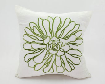 Flower Throw Pillow Cover, Cream Linen  Green Chrysant Embroidery, Floral Pillow Case, Decorative pillow for couch, Flower Cushion