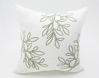 Leaves Decorative Throw Pillow Cover, Cream Linen Green Leaves Embroidery, Cushion Cover, Accent Pillow, Couch Pillow,  Floral Pillow Case