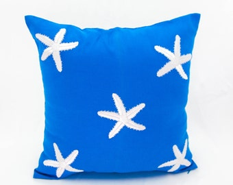 Starfish Pillow Cover, Nautical Pillow, Blue Linen White Starfish Embroidery, Cottage Pillow, Nautical Decor, Sea Life Decor, Coastal pillow