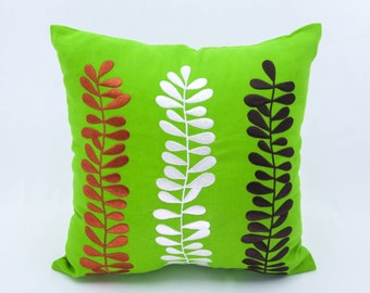 Pillow Cover, Decorative Throw Pillow Cover, Green Linen Pillow, Leaves Embroidery, Pillow Cover, Cushion, Couch Pillow, Accent Pillow
