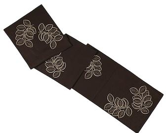 """Linen Table Runner, Dark Brown Linen Off White Leaves 14"""" x 64"""", Embroidered Runner, Dining Textile, Long Table Runner, Floral Table linen"""