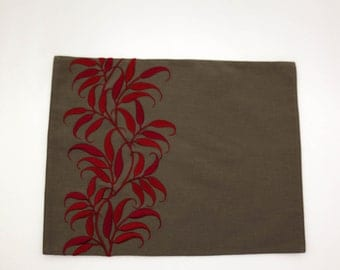 Leaves Placemats, Linen Placemats Set of 4, Red Leaves Medium Taupe Linen, Embroidered Table Linen, Fabric Placemats, Modern Table top