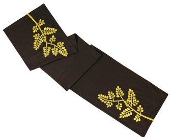 "Table Runner, Table Linen, Tabletop, Linen Table Runner 14"" x 64"" Dark Brown Linen Ocher Tree, Embroidered Table Runner,Weddind table runner"