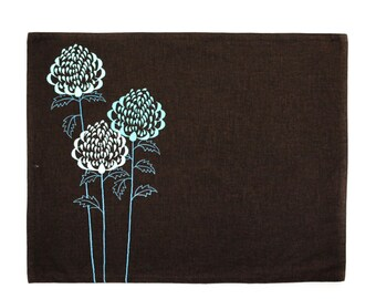 Teal Flower Placemat  Set of 4, Dark Brown Linen Placemat Teal Waratah Floral Embroidery, Table Linen, Fabric Placemat, Dining Textile