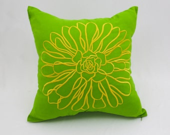 Green Floral Pillow Cover, Embroidered Flower Pillow, Green Linen Yellow Flower, Decorative Pillow for couch, Pillow Shams, Green Cushion