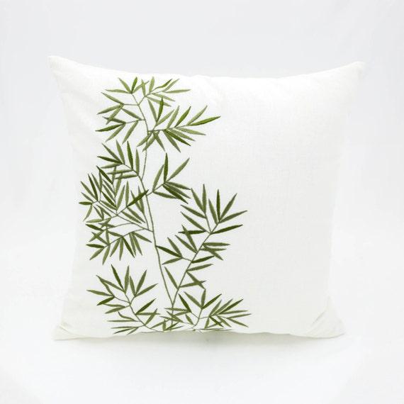 Bamboo Throw Pillow Cover Cream Linen Green Bamboo