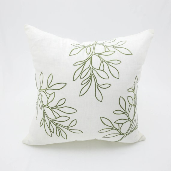 Leaves Decorative Throw Pillow Cover Cream Linen Green Leaves