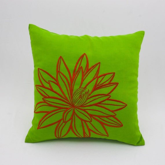 Orange Green Decorative Pillow Cover Green Linen Orange Lotus