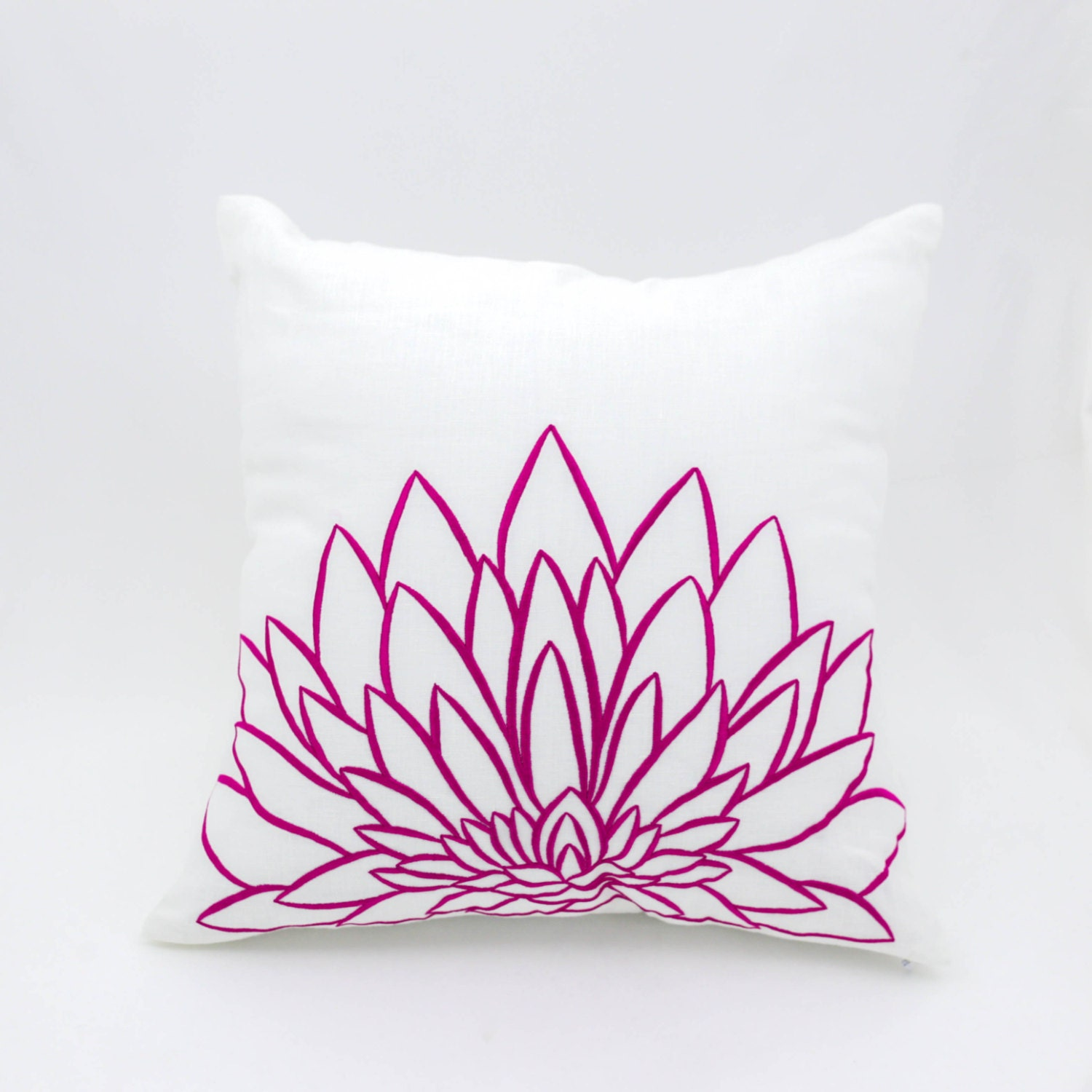 Pink Decorative Pillow Covers : Pink Flower Decorative Pillow Cover White Linen Pink