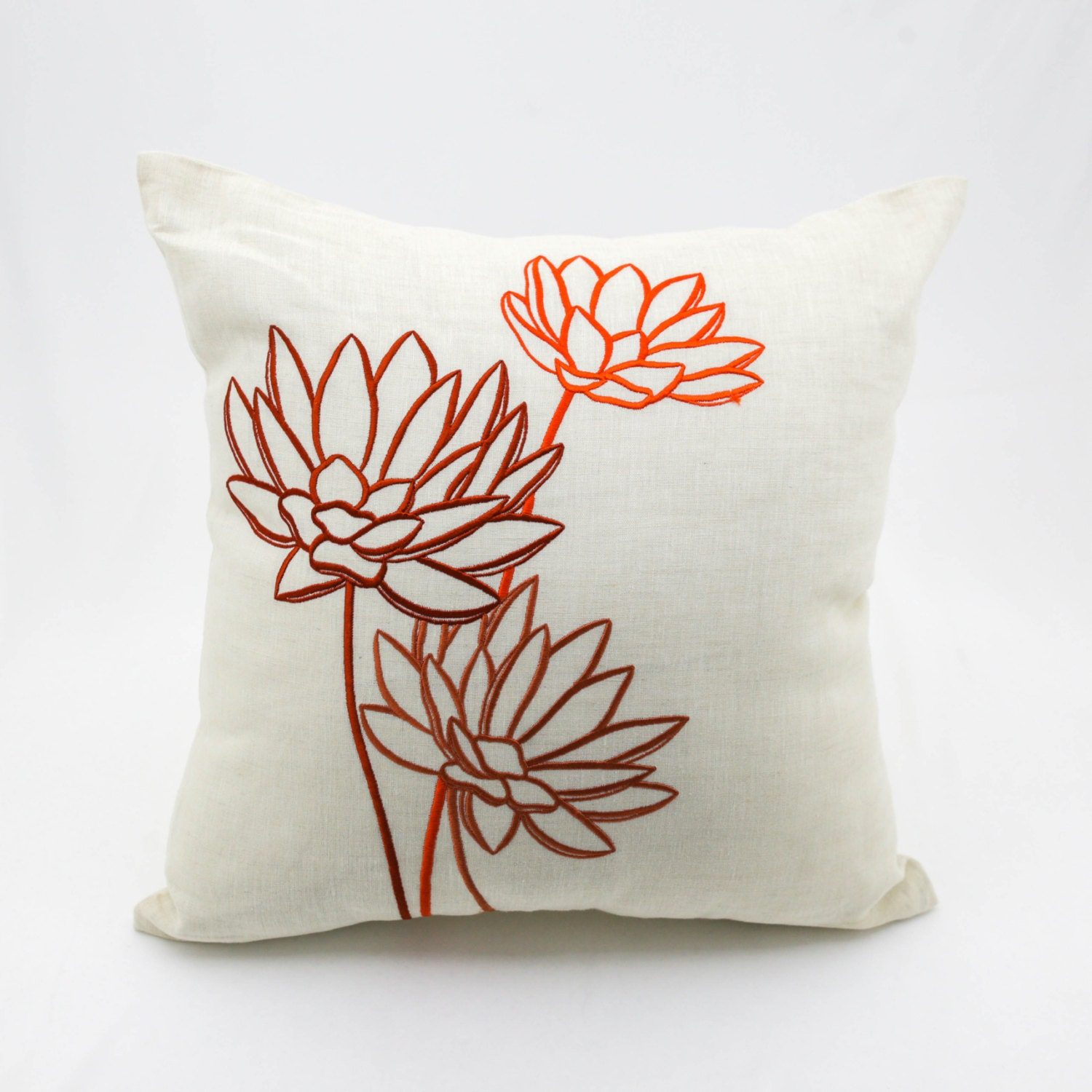 Lotus Pillow Case Floral Throw Pillow Beige Linen Orange