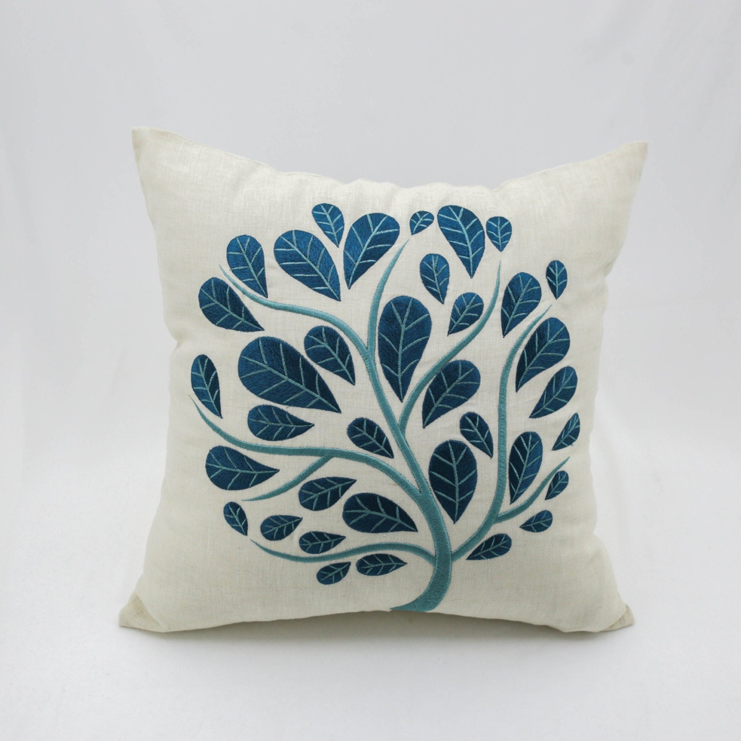 Peacock Pillow Cover, Beige Linen Teal Tree Embroidery, Floral Toss Pillow,  Botanical Decor