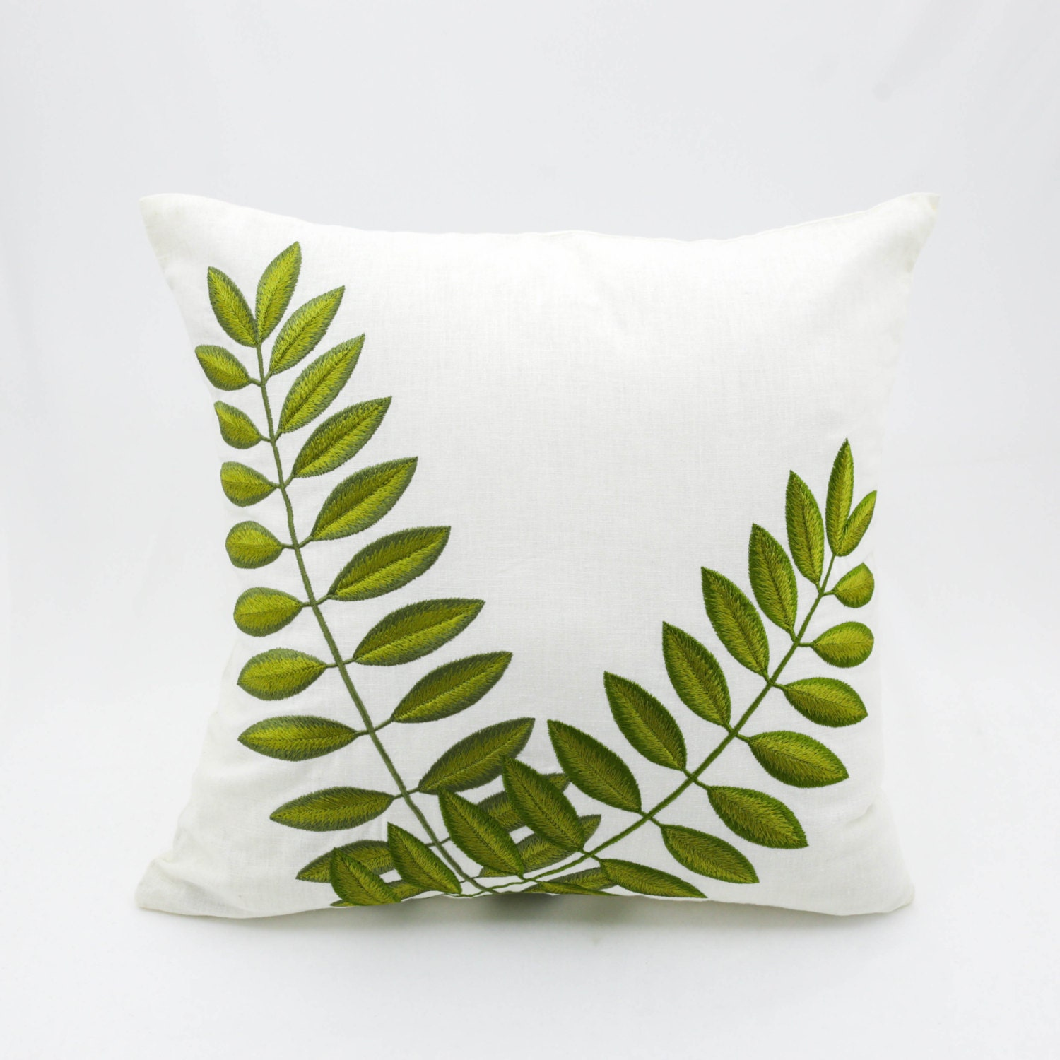 Green leaf pillow cover leaves embroidery on cream linen