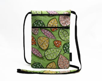 Small travel pouch, Neck wallet, Passport Holder, Small sling bag, Travel Accessory, Zipper Pouch - Leaves on Green