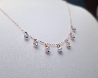 Rose Gold Necklace with Swarovski AB Crystals