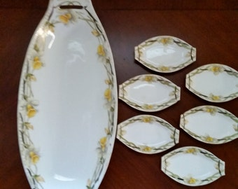 Antique Nippon Porcelain 7 Piece Serving Set with Hand painted Daffodils