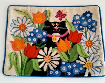 Gorgeous handmade vintage Floral Needlepoint Pillowcase with a Black Cat